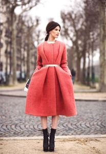 Coral Belted Coat in Paris