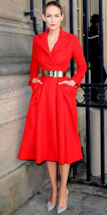 Leelee Sobieski in gorgeous red belted coat