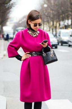 Mira Duma Hot Pink belted coat