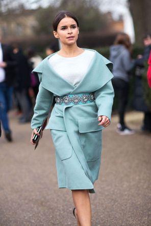 Mira Duma mint blue belted coat