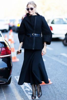 Olivia Palermo midi skirt and belted coat